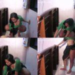 Sirvienta caliente se graba mientras limpia y enseña su cuerpo